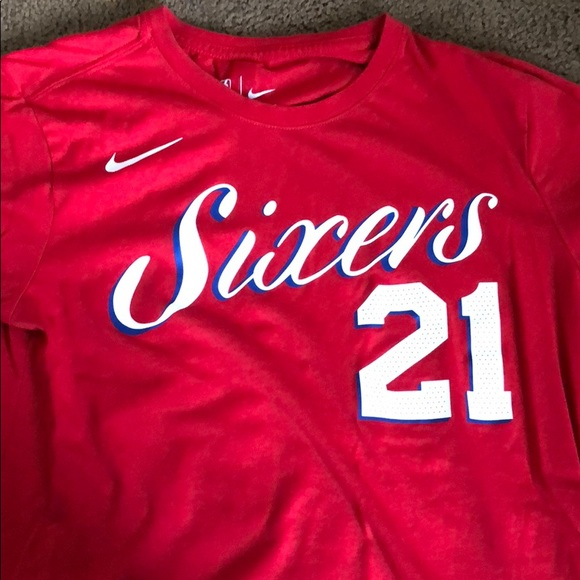 """low priced d376a 96d1f nike x sixers Joel Embiid red """"city"""" tee shirt"""
